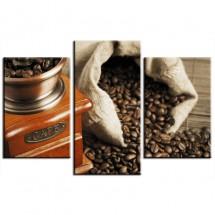 Obraz tryptyk - kawa i młynek