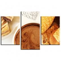 Ozdoba ściany w formie obrazu - tryptyk - kawa i ciastka