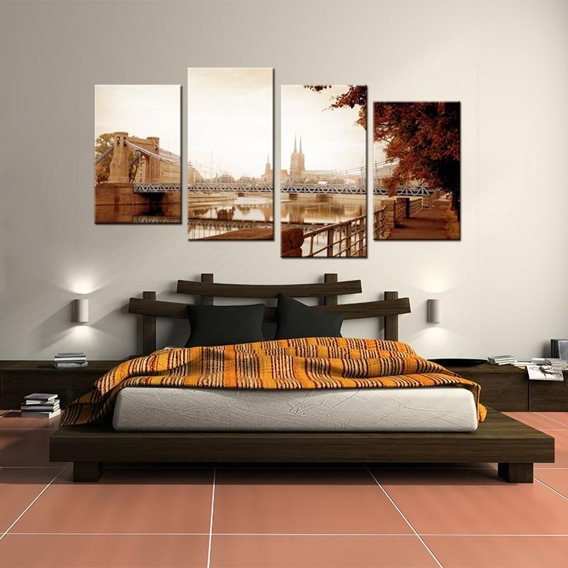 Obraz do sypialni w kolorze bursztynowym