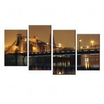 Most Grunwaldzki nocą - obraz wieloczęściowy nr 10026