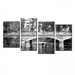 Obraz wieloczęściowy most czarno biały nr 10028