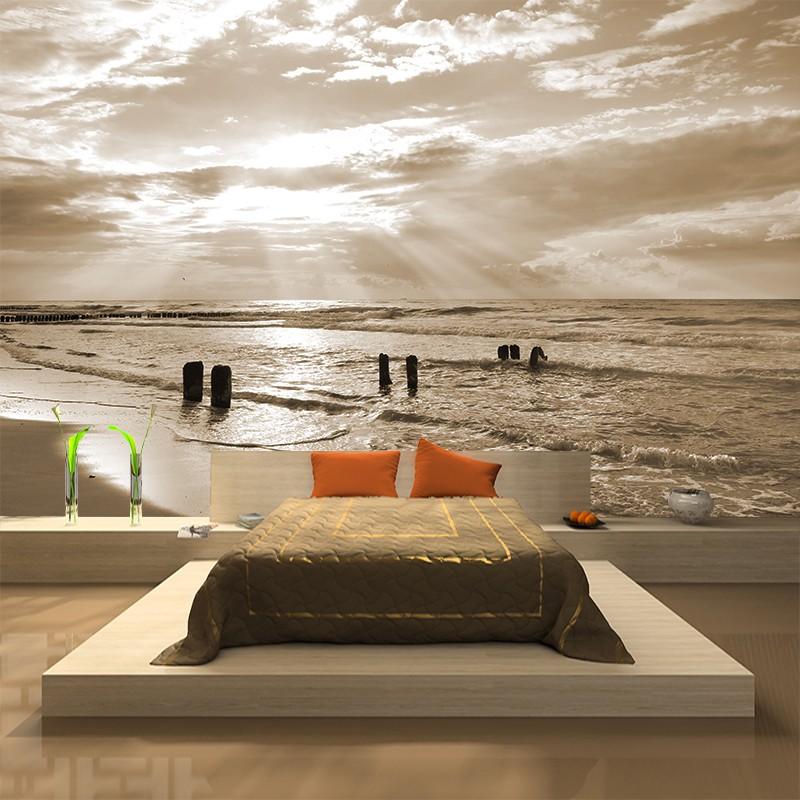 Fototapeta morze zachód słońca w sepii | źródło http://agatonstudio.pl