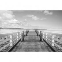 Fototapeta pomost nad morzem - Czarno biała