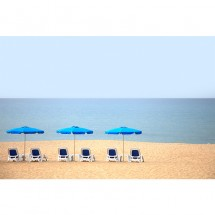 Fototapeta plaża parasolki i leżaki