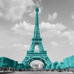 Fototapeta turkusowa wieża Eiffla na wymiar ściany