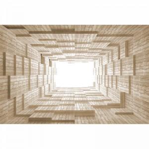 Fototapeta drewniane kostki w tunelu 3d