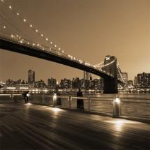 Fototapeta pomost pod mostem Brooklińskim w nocy