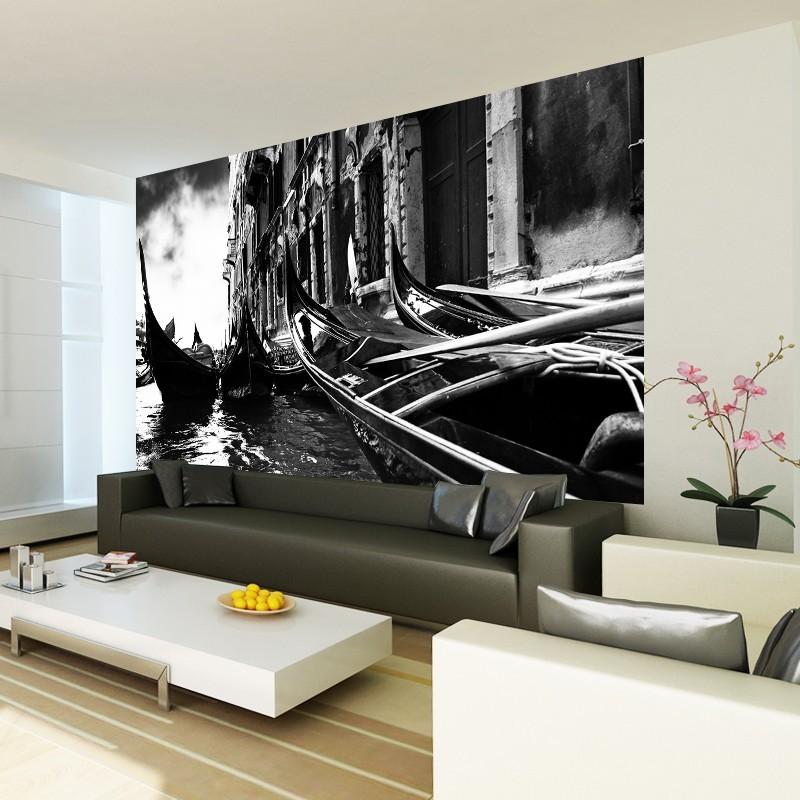 Fototapeta gondole w Wenecji - czarno białe