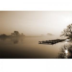 Fototapeta mgła nad jeziorem - pomost