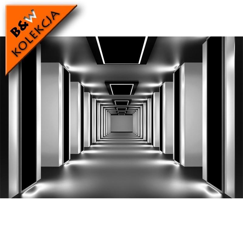 Czarno biała fototapeta z tunelem. Mocne kontrasty i perspektywiczne linie kolumn. Nowoczesny tunel.