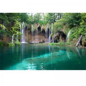 Fototapeta turkusowe jezioro z wodospadem