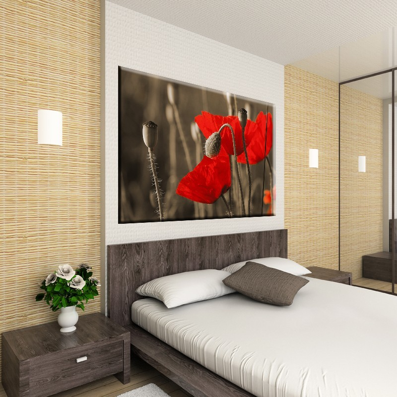 Obraz czerwone maki do sypialni - aranżacja