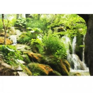 Fototapeta zielone wzgórze z wodospadem
