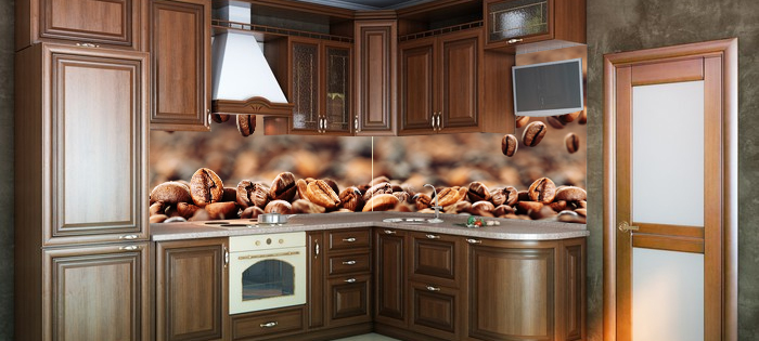 Fototapeta do kuchni między szafki - kawa