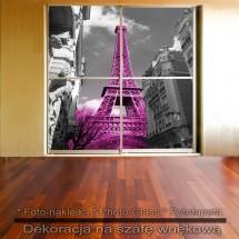 Różowa wieża - dekoracja na szafę