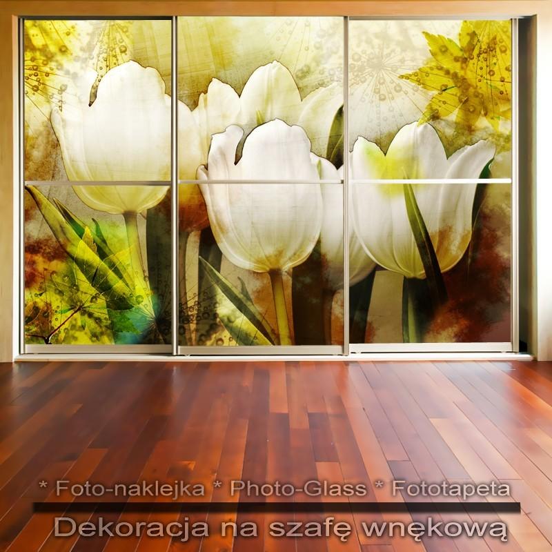 Tulipanowa jesień - dekoracja na szafę