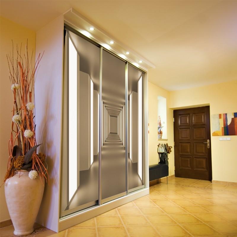 Fototapeta na szafę z tunelem optycznie powiększająca wętrze - głębia tworzona przez szeroką perspektywę wzoru