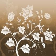 Fototapeta brązowy ornament roślinny