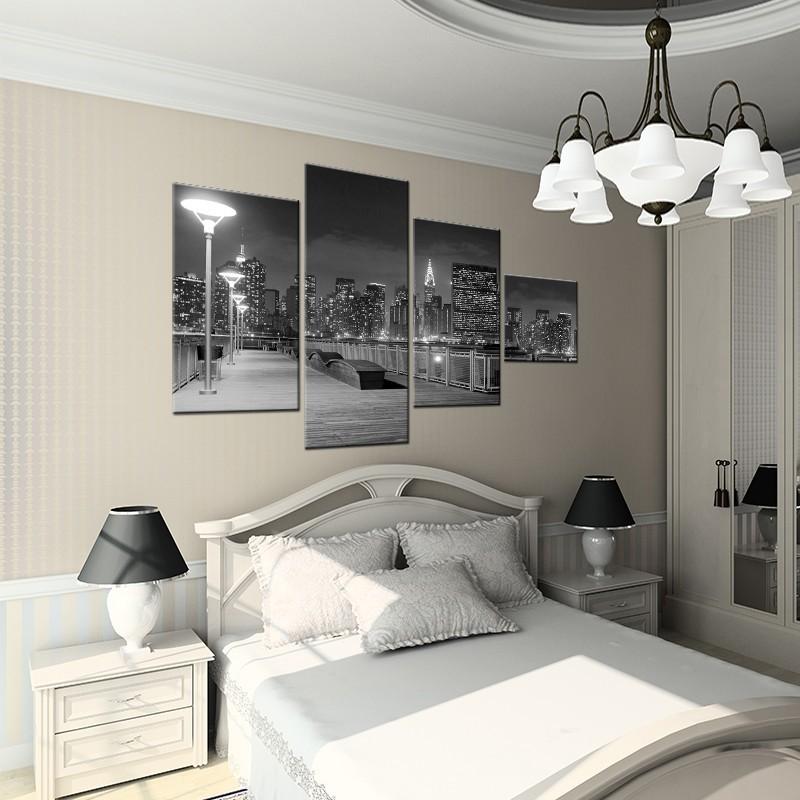 Obraz do sypialni wieloczęściowy czarno biały New York
