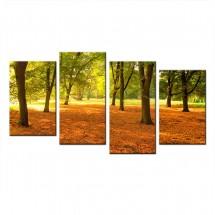 Ozdoba ściany w formie obrazu wieloczęściowy - park jesienią