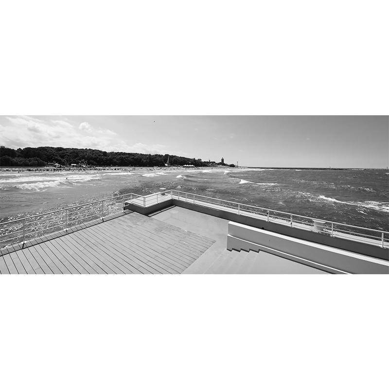 Fototapeta czarno biała molo nad morzem
