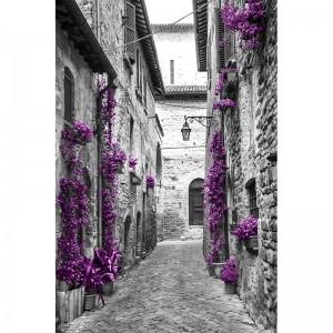 fototapeta uliczka czarno biała z fioletowym