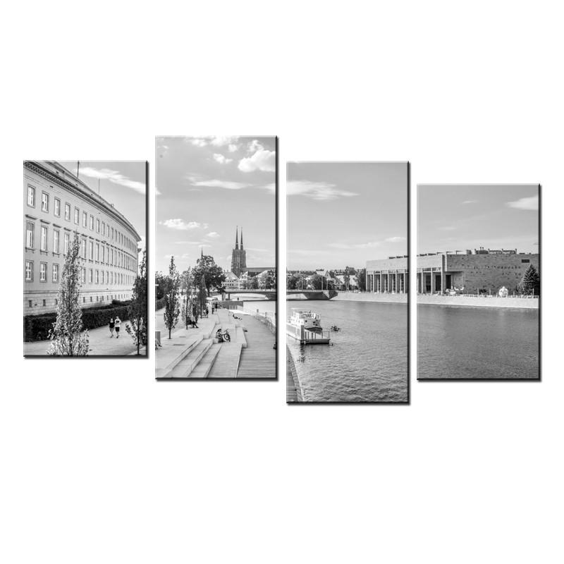 Ozdoba ściany w formie obrazu Wrocław Bulwar - czarno biały