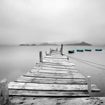 Fototapeta pomost czarno biała z turkusowym