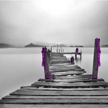 Fototapeta drewniany pomost czarno biała