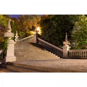 Fototapeta schody nocą na wzgórzu Montjuic w Barcelonie
