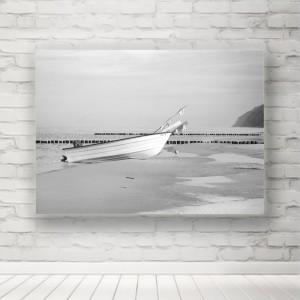Plakat łódź na plaży