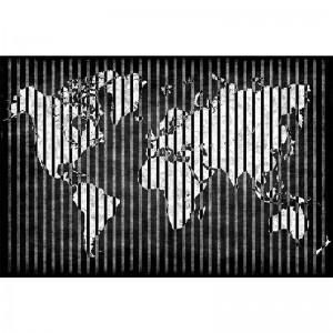 Czarno biała fototapeta z mapą świata w pasy