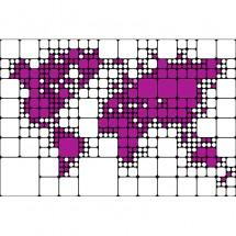 Fragment w powiększeniu z fioletową mapą świata