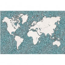 Fototapeta rysowana mapa świata
