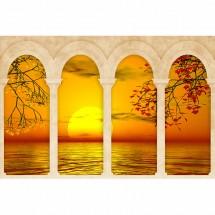 Aranżacja fototapety na ścianie z zachodem słońca nad morzem