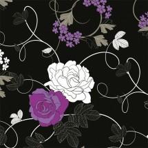 Aranżacja ściany w jadalni nad stołem - fototapeta róże w ujęciu graficznym