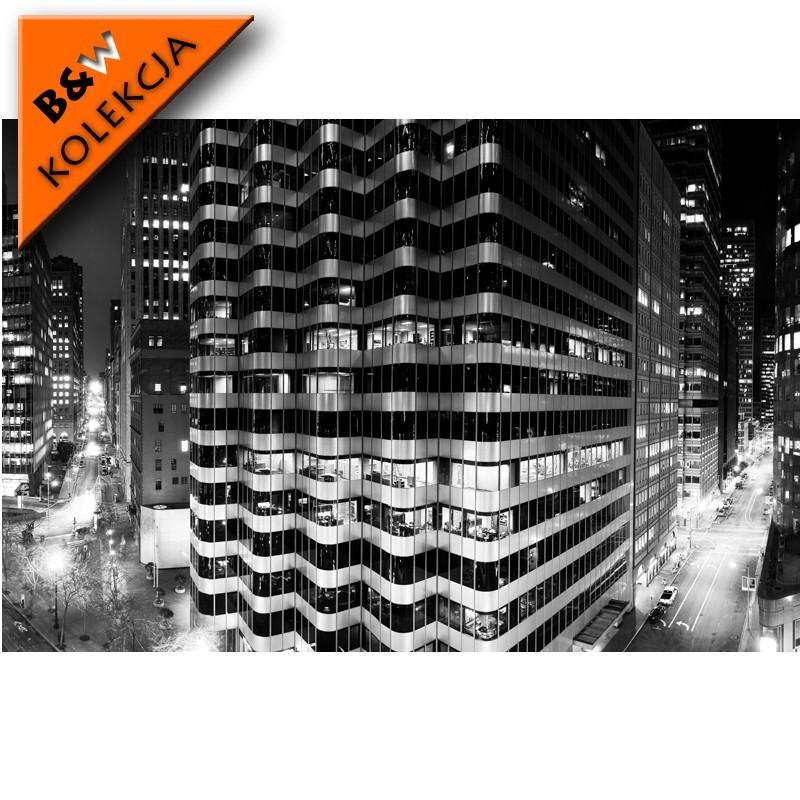 Fototapeta czarno biała wieżowiec nocą