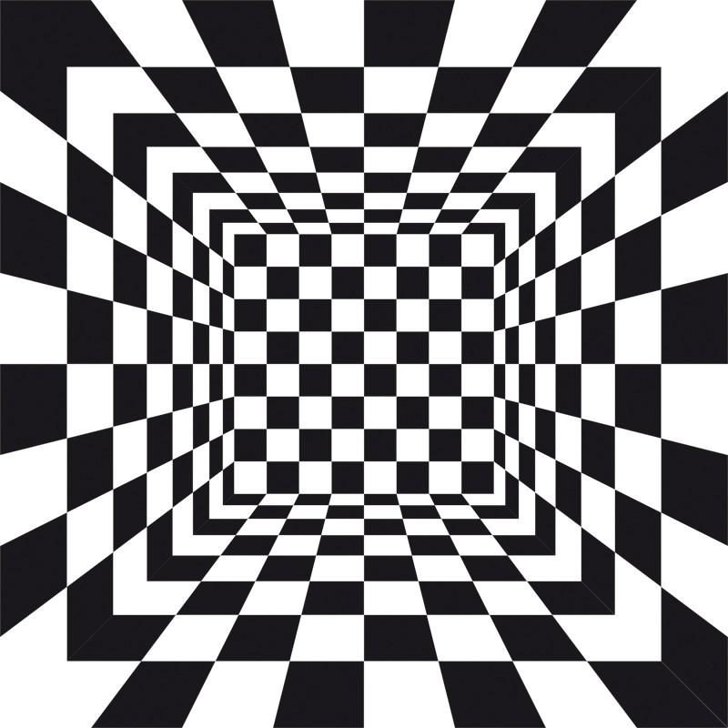 Fototapeta przestrzenna - czarno białe kwadraty