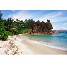 Aranżacja ściany w jadalni - fototapeta tropikalna plaża