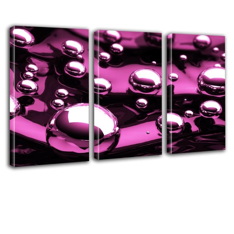 Różowe bąble - tryptyk do ozdobienia ściany nr 2623