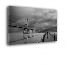 Obraz czarno biały na ścianę most VASCO DA GAMA nr 2364