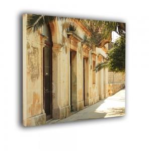 Ozdoba ściany w formie obrazu uliczka z palmą nr 2517