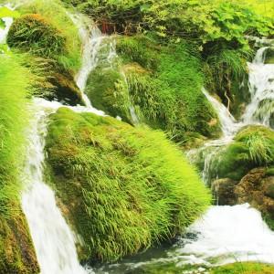 Fototapeta zielona łąka z wodospadem