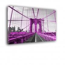 Ozdoba ściany w formie obrazu - różowy Brooklyn Bridge nr 2543