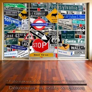 Znaki drogowe - dekoracja na szafę
