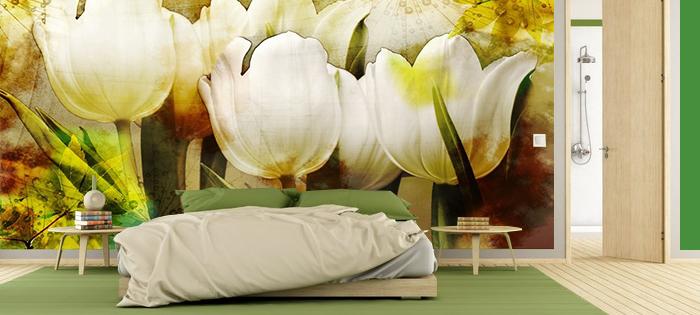 Aranżacja sypialni z białymi tulipanami - fototapeta