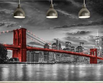 Most Brookliński na czerwono