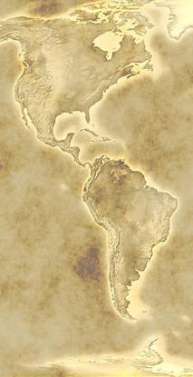 Mapa obu Ameryk, sepia