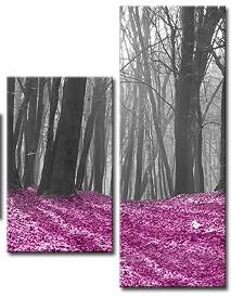Częściowy obraz z czarno białym lasem