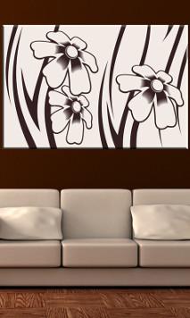 Malowane kwiaty na obrazie